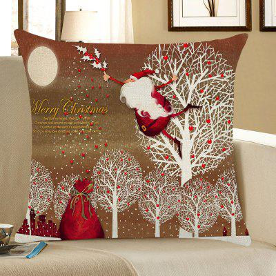 Santa Claus and Trees Pattern Pillow Case