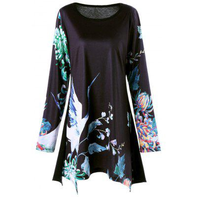 Buy Plus Size Floral Crane Print Long Sleeve Asymmetric T-shirt, BLACK, 2XL, Apparel, Women's Clothing, Plus Size, Plus Size Tops for $20.92 in GearBest store