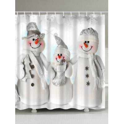 Waterproof Polyester Christmas Snowman Shower Curtain