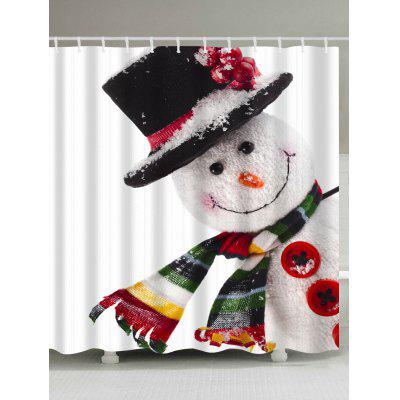 Polyester Waterproof Christmas Snowman Bath Curtain
