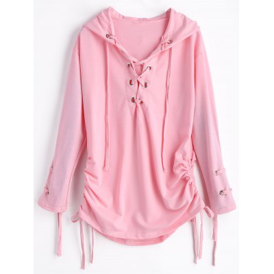 Lace Up Ruched Hoodie