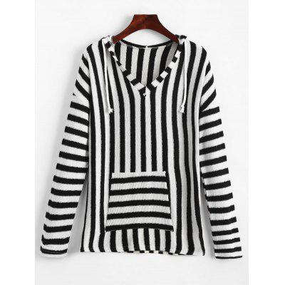 Front Pocket Striped Hooded Knit Top