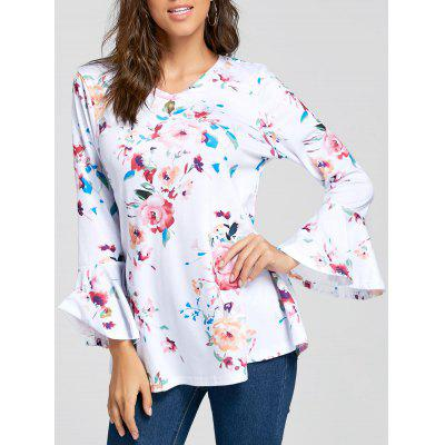 V Neck Floral Flare Sleeve Tunic Top