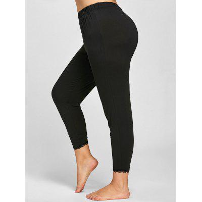 Buy BLACK 5XL Plus Size Lace Trim Leggings for $13.29 in GearBest store