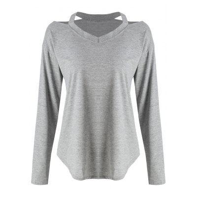 Plus Size Long Sleeve Cold Shoulder T-shirt
