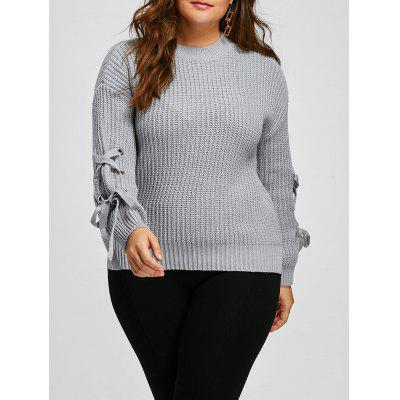 Buy GRAY Sleeve Lace Up Plus Size Knit Ribbed Sweater for $18.03 in GearBest store