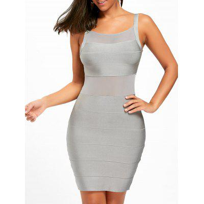Buy GRAY L Mesh Insert Spaghetti Strap Bandage Dress for $45.10 in GearBest store