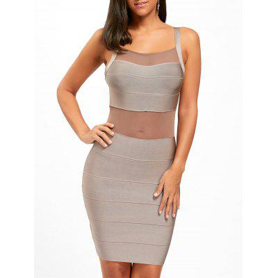 Buy KHAKI L Mesh Insert Spaghetti Strap Bandage Dress for $45.10 in GearBest store