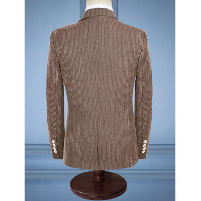 Slim Fit Stripe Lapel Business SuitMens Blazers<br>Slim Fit Stripe Lapel Business Suit<br><br>Closure Type: Single Breasted<br>Front Style: Flat<br>Material: Cotton, Polyester<br>Package Contents: 1 x Blazer  1 x Pants  1 x Waistcoat<br>Pant Closure Type: Zipper Fly<br>Shirt Length: Regular<br>Type: Suits<br>Weight: 1.5500kg