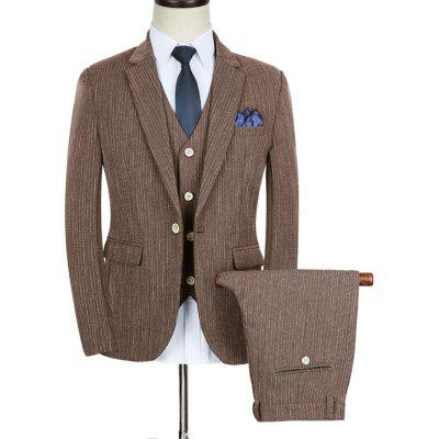 Slim Fit Stripe Lapel Business Suit