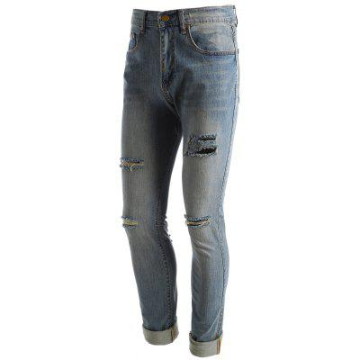 Faded Wash Distressed JeansMens Pants<br>Faded Wash Distressed Jeans<br><br>Closure Type: Zipper Fly<br>Fabric Type: Denim<br>Fit Type: Regular<br>Material: Cotton, Jean<br>Package Contents: 1 x Jeans<br>Pant Length: Long Pants<br>Pant Style: Straight<br>Waist Type: Mid<br>Wash: Destroy Wash<br>Weight: 0.6100kg<br>With Belt: No