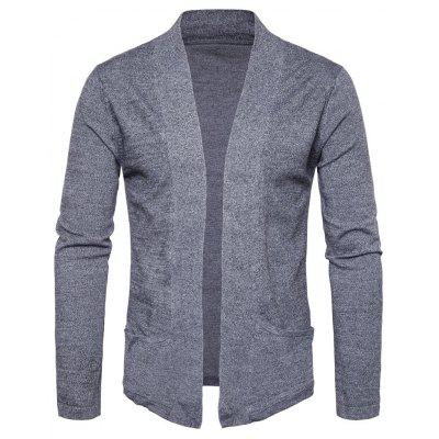 Buy DEEP GRAY M Knitted Pockets Open Front Cardigan for $23.33 in GearBest store