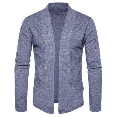 Buy LIGHT GRAY L Knitted Pockets Open Front Cardigan for $23.33 in GearBest store