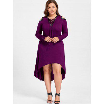 Plus Size Cold Shoulder High Low Midi DressPlus Size Dresses<br>Plus Size Cold Shoulder High Low Midi Dress<br><br>Dresses Length: Mid-Calf<br>Material: Cotton, Spandex<br>Neckline: Plunging Neck<br>Package Contents: 1 x Dress<br>Pattern Type: Solid Color<br>Season: Spring, Fall<br>Silhouette: Asymmetrical<br>Sleeve Length: Long Sleeves<br>Style: Brief<br>Weight: 0.5000kg<br>With Belt: No