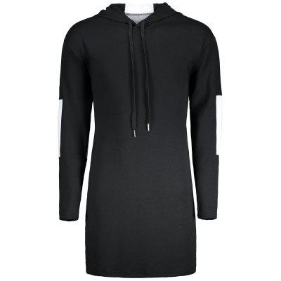 Buy COLORMIX L Drawstring Two Tone Longline Hoodie for $29.02 in GearBest store