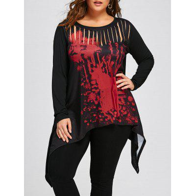 Halloween Plus Size Two Tone Ripped T-shirt