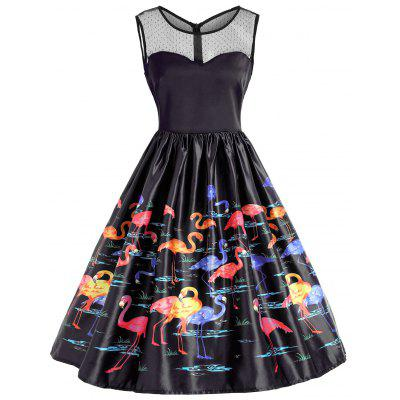 Flamingo Print Mesh Yoke Sleeveless Vintage Dress
