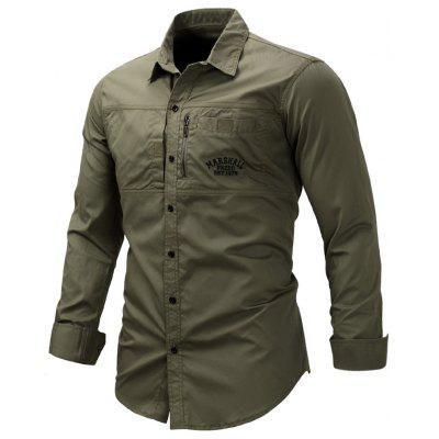 Turndown Collar Zipper Design Embroidered Cargo ShirtMens Shirts<br>Turndown Collar Zipper Design Embroidered Cargo Shirt<br><br>Collar: Turndown Collar<br>Material: Cotton<br>Package Contents: 1 x Shirt<br>Pattern Type: Letter, Solid<br>Shirts Type: Casual Shirts<br>Sleeve Length: Full<br>Weight: 0.3800kg