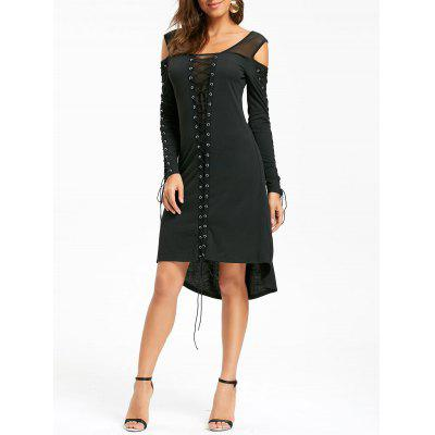 Halloween Cold Shoulder Lace Up Dress