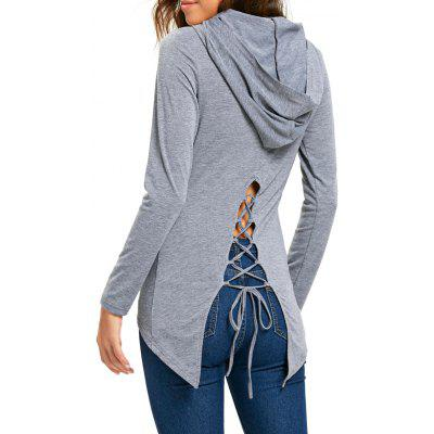 Hooded Lace Up High Low Tunic T-shirt