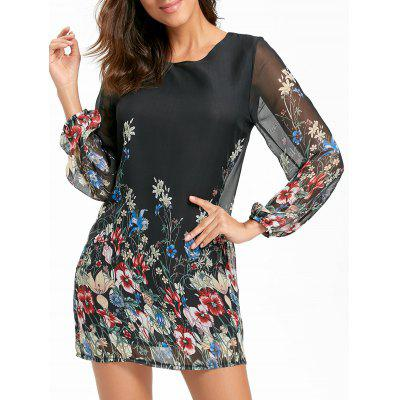 Buy Sheer Long Sleeve Floral Chiffon Mini Dress, BLACK, L, Apparel, Women's Clothing, Women's Dresses, Maxi Dresses for $25.69 in GearBest store