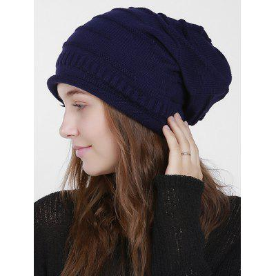 Slouchy Knit Hat with Stripy