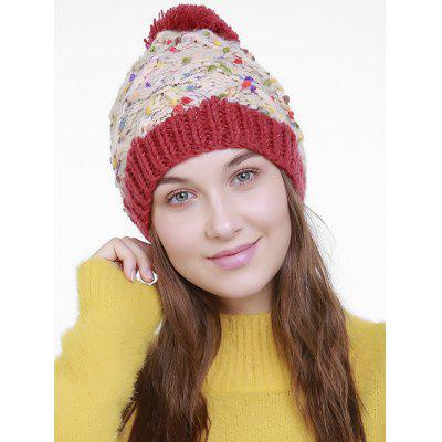 Outdoor Color Splicing Pom Knitting Hat
