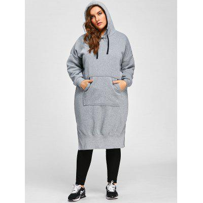 Plus Size Drop Shoulder Slit Longline Hoodie