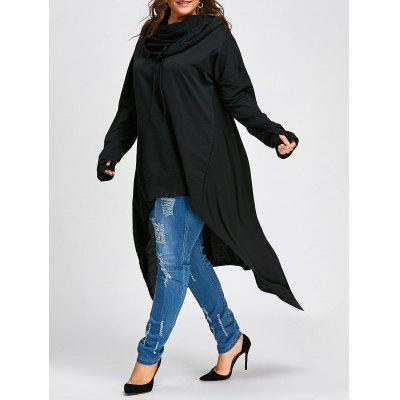 Plus Size Convertible Neck Long High Low Top