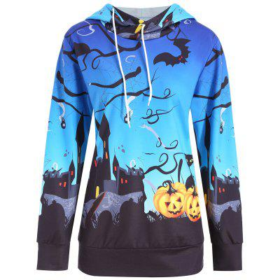 Buy Plus Size Halloween Pumpkin Castle Print Hoodie, BLUE, 3XL, Apparel, Women's Clothing, Plus Size, Plus Size Tops for $24.44 in GearBest store