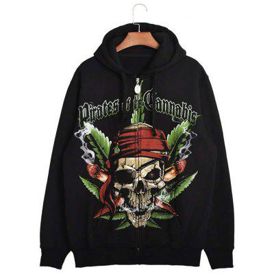 Hooded Hoodie do crânio do pirata 3D com Zip Hoodie