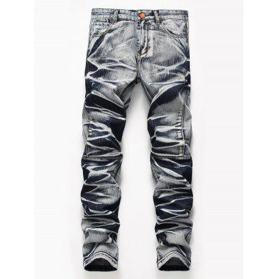 Tie Dye Zip Fly Straight Leg Jeans
