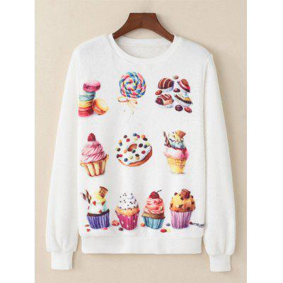 Dessert Printed Fluffy Sweatshirt