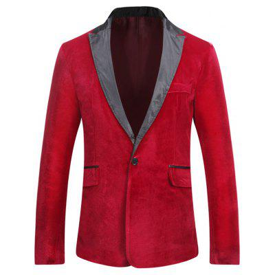 Male Fashion Fitted One Button Flap Poclet Velveteen Blazer Jacket Coat for Men