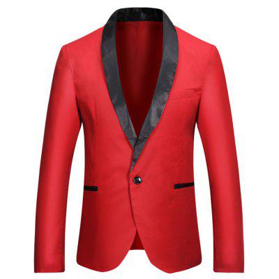 Casual Shawl Collar One Button Tuxedo Fitted Blazer Jacket Coat for Men