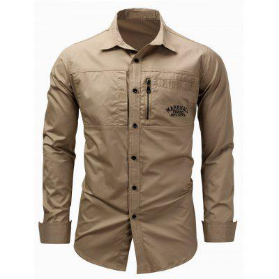Buy KHAKI L Turndown Collar Zipper Design Embroidered Cargo Shirt for $20.99 in GearBest store