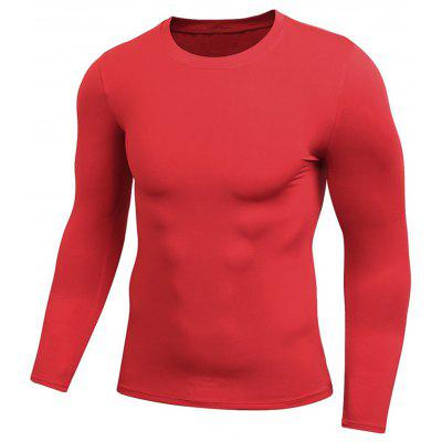 Crew Neck Quick Dry Fitted Gym Long Sleeve T-shirt