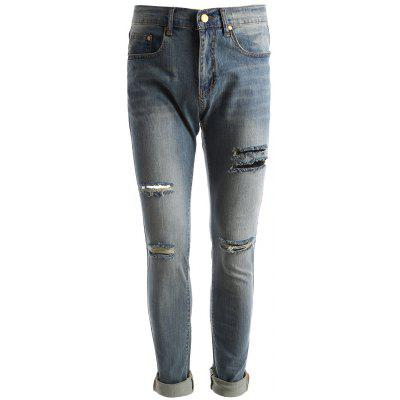 Buy BLUE 34 Faded Wash Distressed Jeans for $35.47 in GearBest store