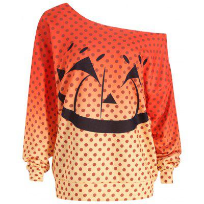plus size halloween pumpkin face sweatshirt