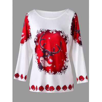 Plus Size Cartoon Deer Print Raglan Ärmel T-Shirt
