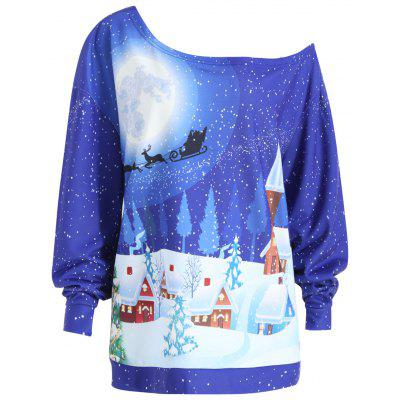 Plus Size Christmas Evening Printed Skew Neck Sweatshirt