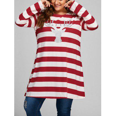 Plus Size Christmas Elk Striped Longline T-shirt