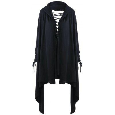 Sudadera con capucha Halloween Lace Up Tunic