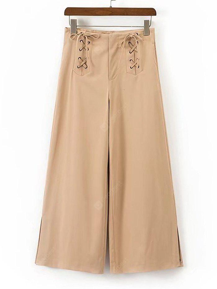 Lace Up High Waisted Wide Leg Pants