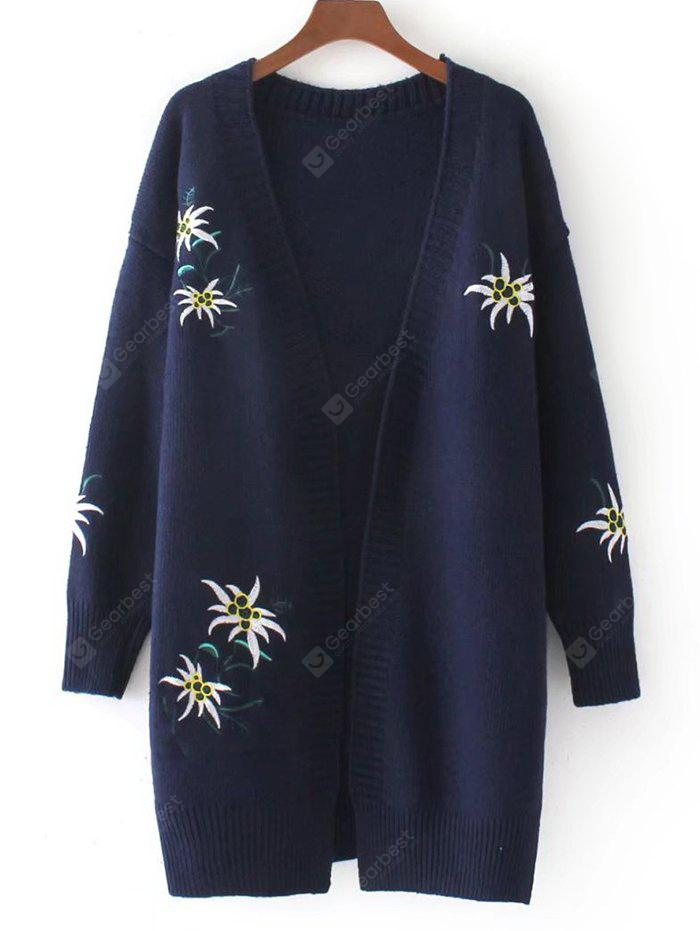 Floral Embroidered Open Front Loose Cardigan
