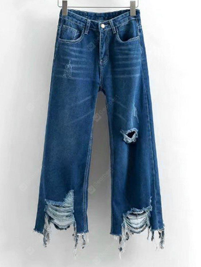Distressed Frayed Hem Wide Leg Jeans