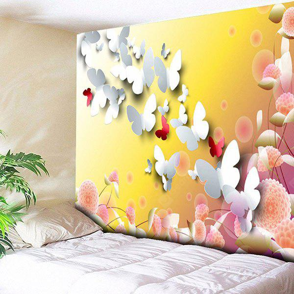 YELLOW Butterfly Floral Print Wall Hanging Tapestry