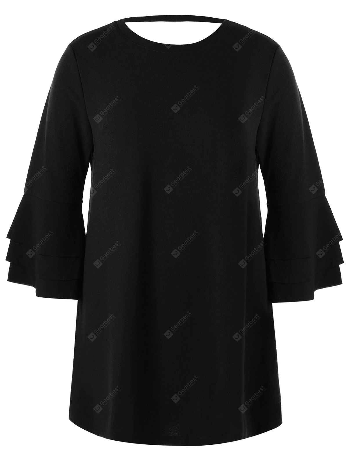 Layered Flare Sleeve Plus Size Tunic Top