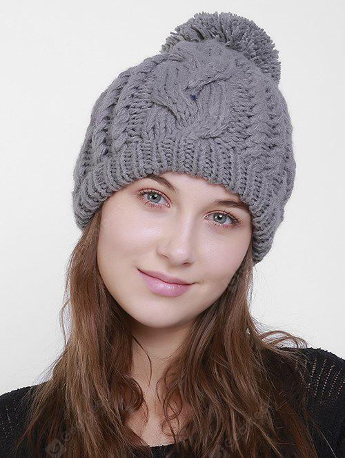 Plain Design Chunky Cable Knit Pom Hat