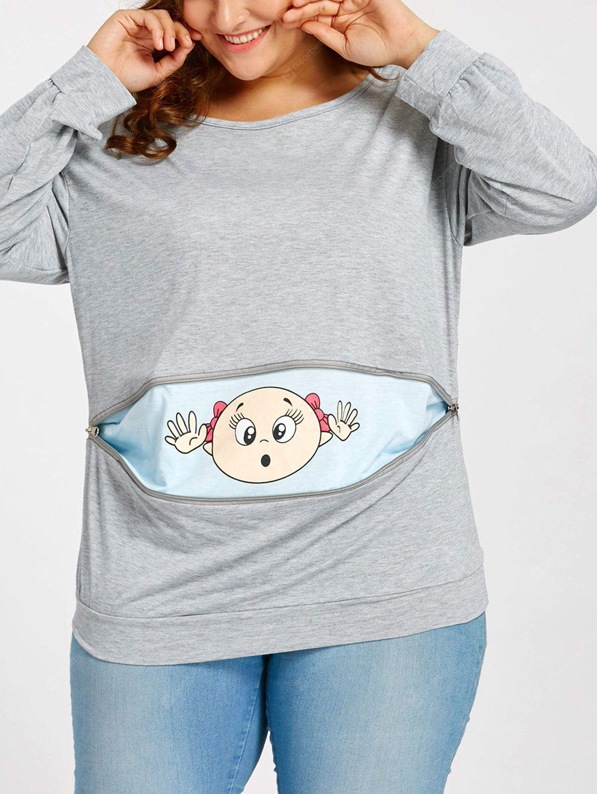 Cartoon Baby Printed Plus Size Drop Shoulder T-shirt